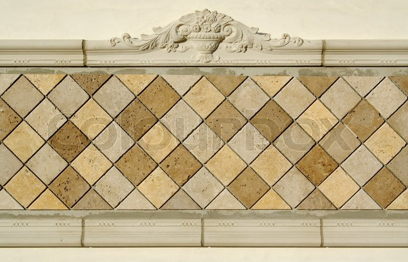 Ornate Tiled Blank Wall Sign Ready for Your Message, stock photo