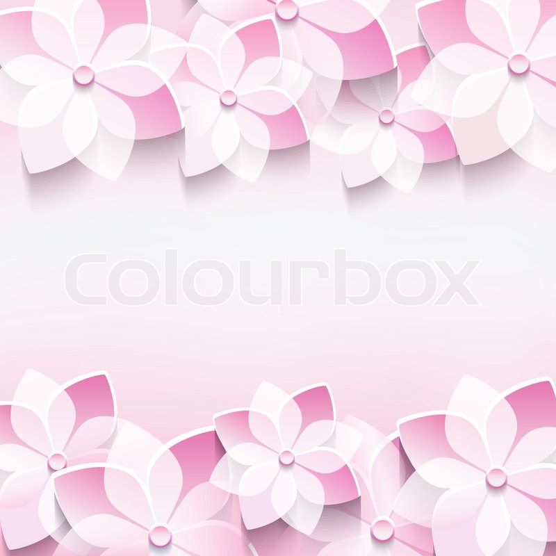 Trendy abstract floral pink background with stylized 3d sakura trendy abstract floral pink background with stylized 3d sakura flower stylish modern background invitation or greeting card for wedding birthday mightylinksfo
