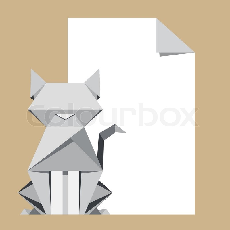 White Cat Origami With Paper Note Stock Vector Colourbox