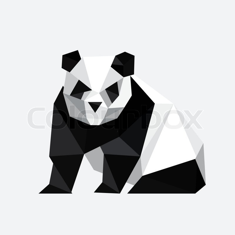 Illustration Of Abstract Origami Panda Bear