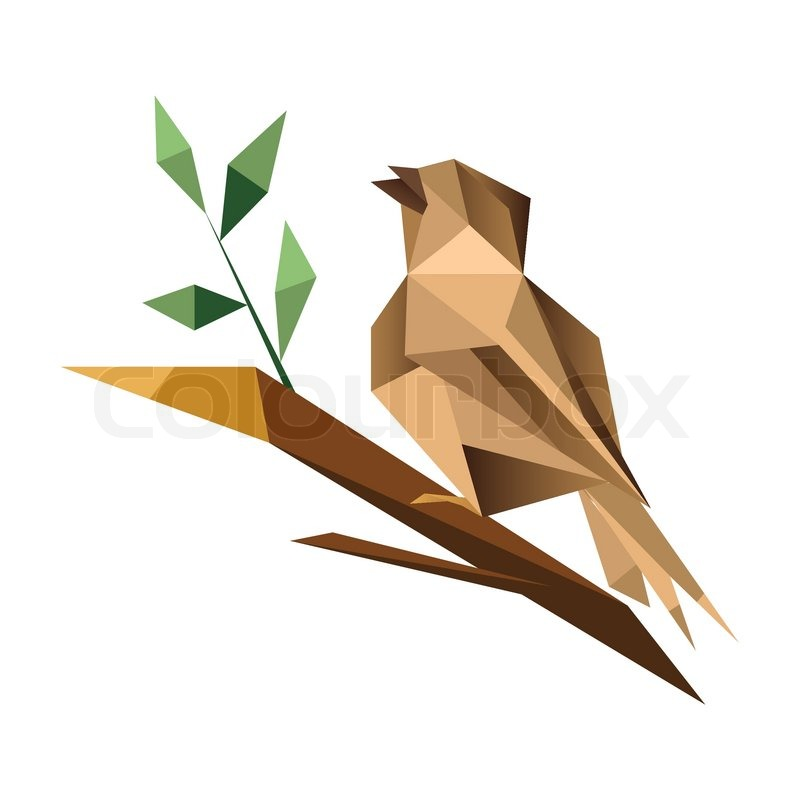Origami Sparrow Isolated On White Background Sitting Branch With Green Leaves Vector