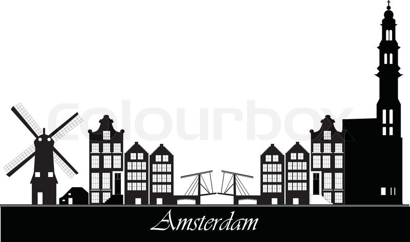 Amsterdam the netherlands capital skyline stock vector for Product design jobs amsterdam