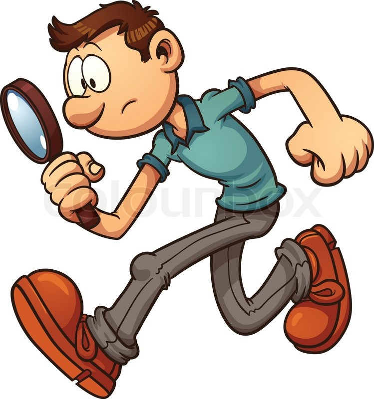 Man searching with a magnifying glass vector clip art illustration