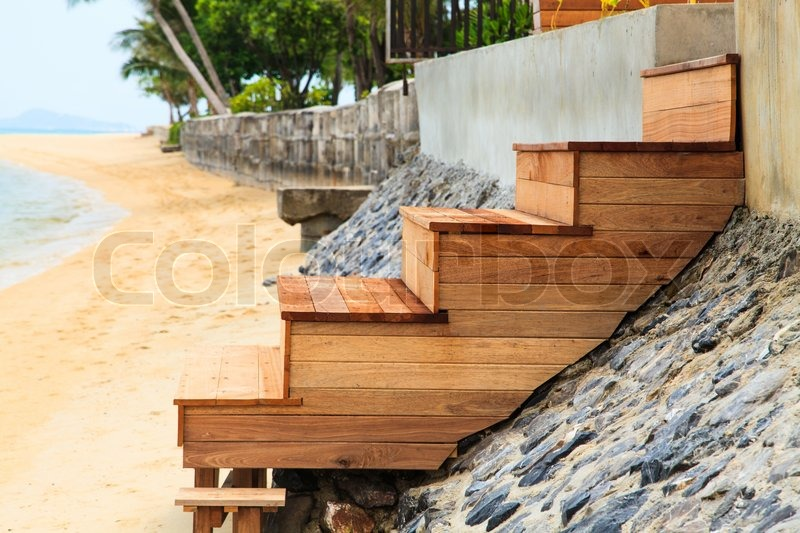 Outdoor wood stairs, stock photo