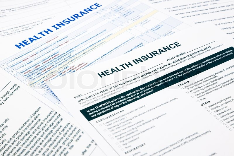 Health insurance form, paperwork and questionnaire for insurance concepts, stock photo