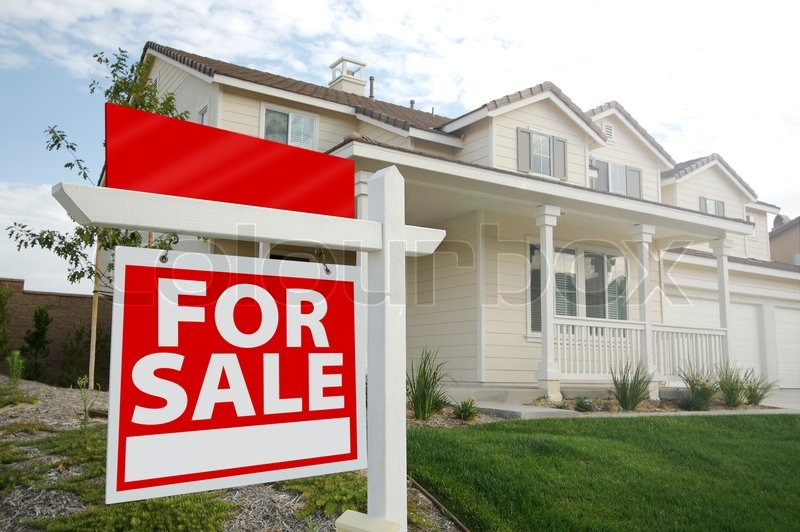 Blank For Sale Real Estate Sign in Front of Beautiful New Home, stock photo