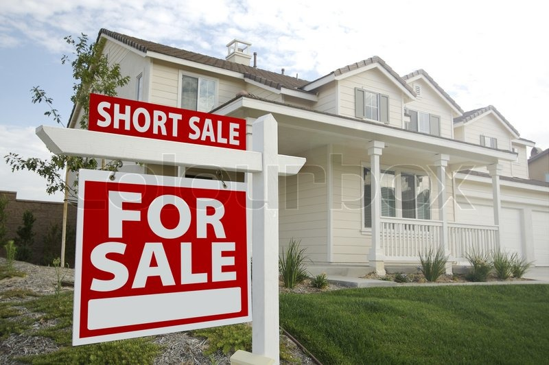 Short Sale Home For Sale Real Estate Sign and House - Left Side, stock photo