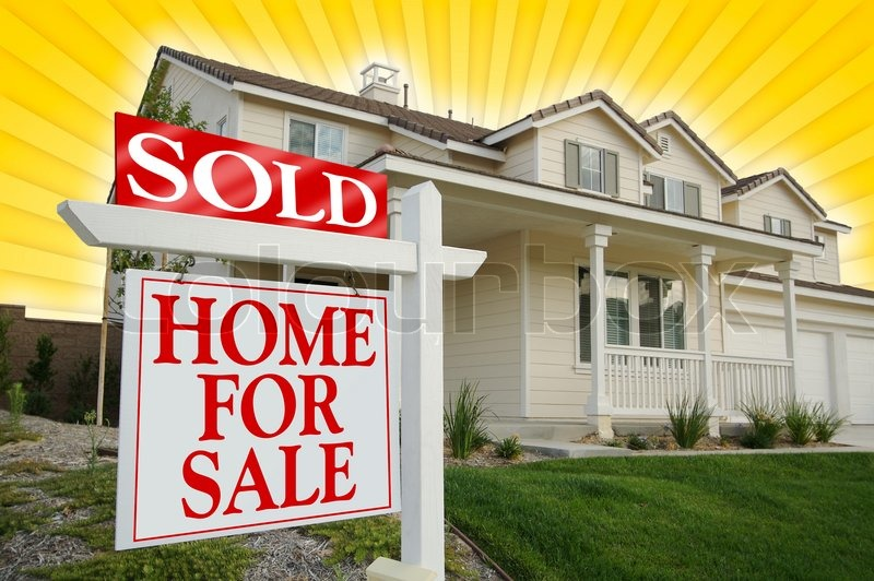 Sold Home For Sale Sign with Yellow Star-burst Background, stock photo