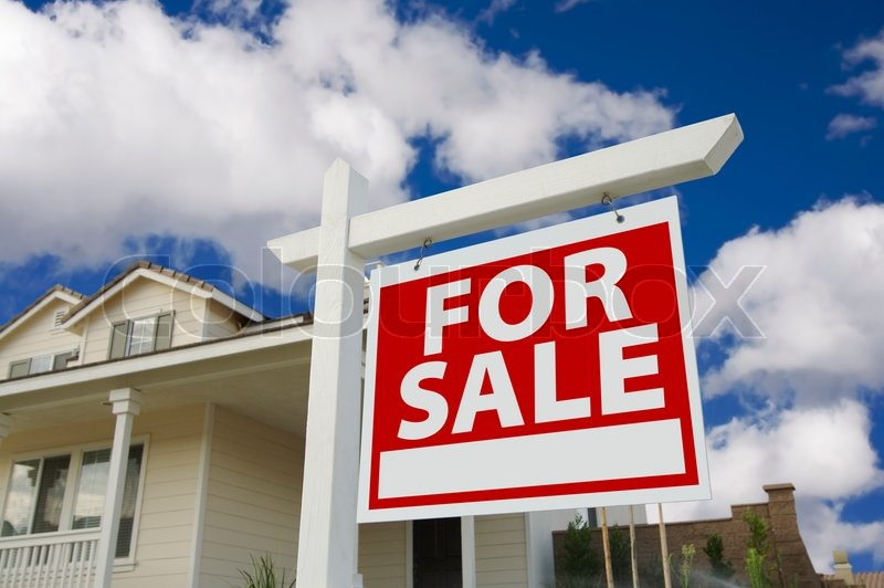 Home For Sale Sign in Front of New House, stock photo