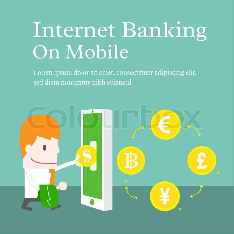 Internet Banking On Mobile Vector Cartoon Business Stock