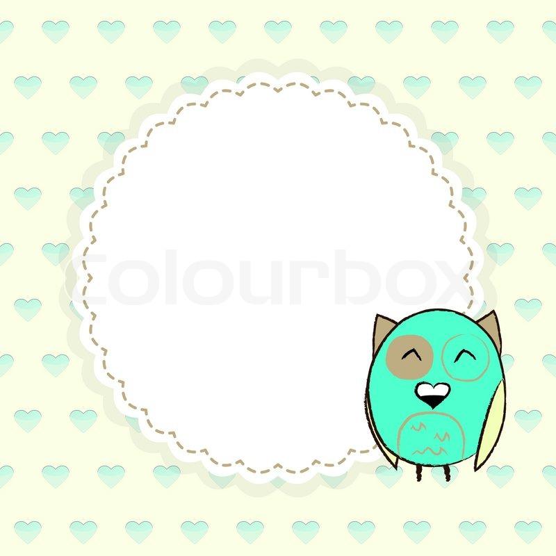 Vorlage Grußkarte mit Herzen und Eule   Vektorgrafik   Colourbox