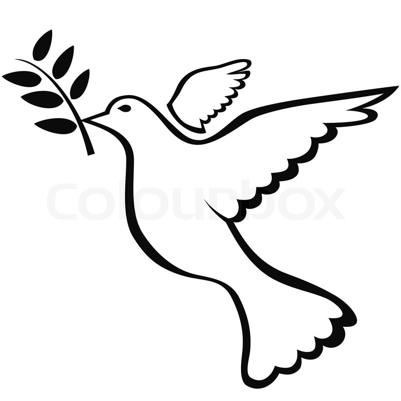 Isolated Black Peace Dove Symbol On White Background Stock Vector