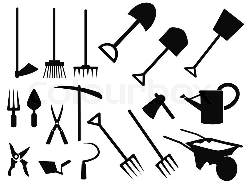 Isolated black gardening tools Silhouettes from white ...