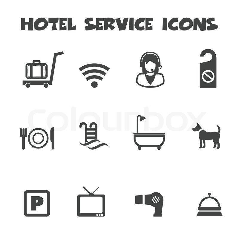 Hotel Service Icons Mono Vector Symbols Stock Vector