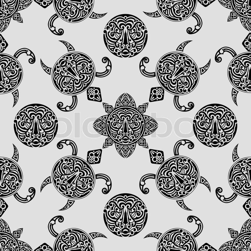 Vector Seamless Pattern With Polynesian Symbols Polynesian Tattoo