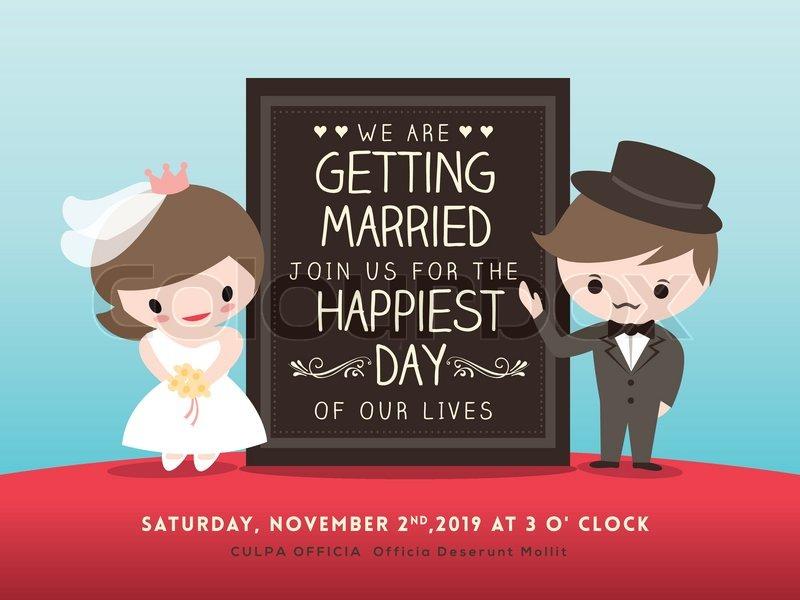 Cartoon Bride And Groom Wedding Invitations Groom And Bride Cartoon'