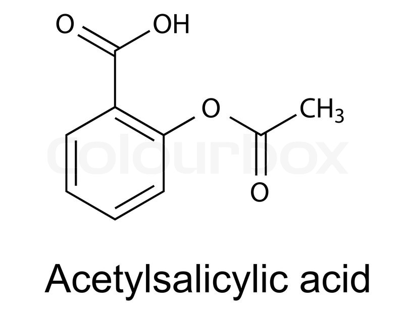 structural chemical formula of acetylsalicylic acid  aspirin   vector  2d illustration  isolated