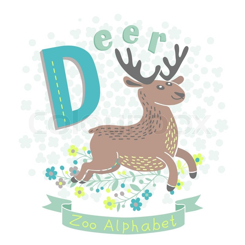 letter d deer alphabet with cute animals vector illustration