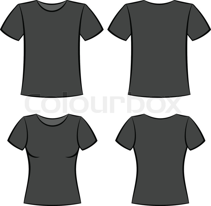 Black t-shirt clothes blank template vector illustration | Stock ...