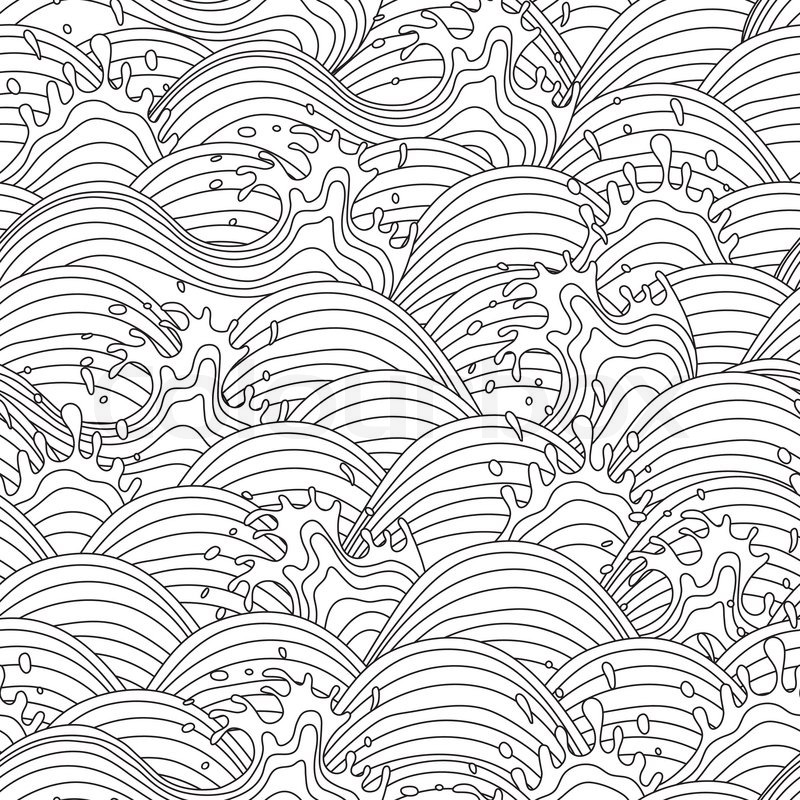 Sea Wave Background Seamless Pattern Vector Illustration