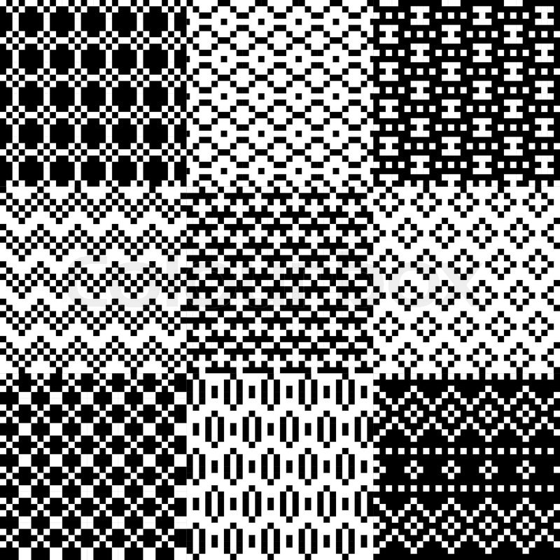 Abstract Seamless Pixel Patterns Set Vector Illustration Stock Enchanting Pixel Patterns