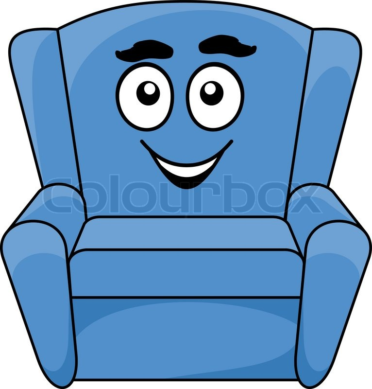 Stock vector of 'Comfortable upholstered blue armchair with a happy ...