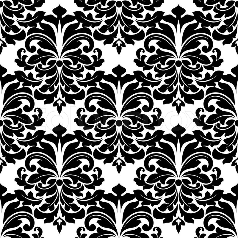 Black and white damask seamless pattern for background for Black white damask wallpaper mural