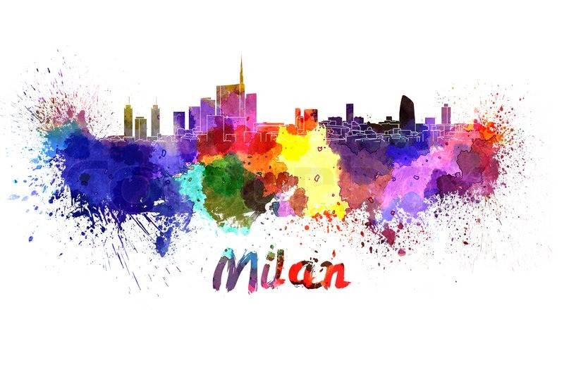 Milan Skyline In Watercolor Splatters With Clipping Path
