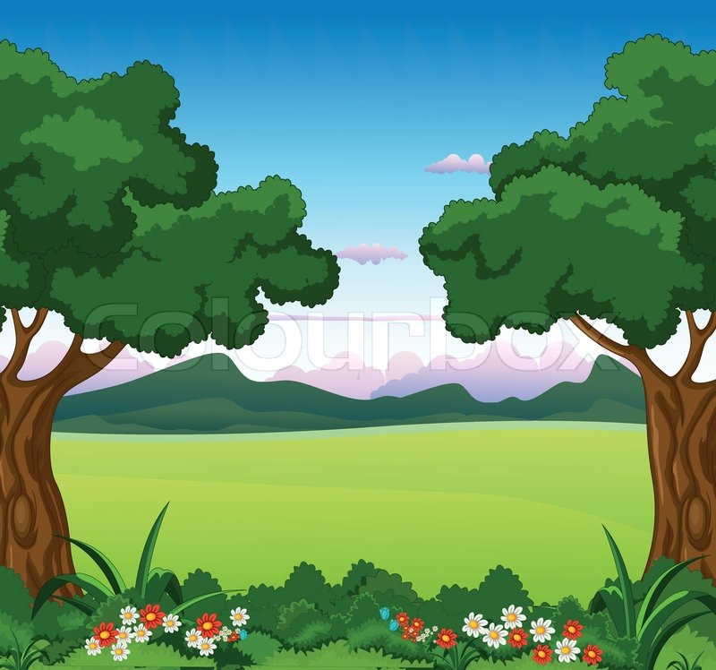 Vector Illustration Of Beautiful Garden And Various Plants With Mountain  Background | Stock Vector | Colourbox