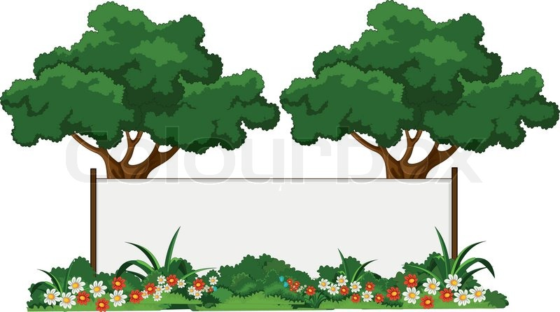 Stock Vector Of U0027vector Illustration Of Beautiful Garden And Various Plants  With Blank Signu0027