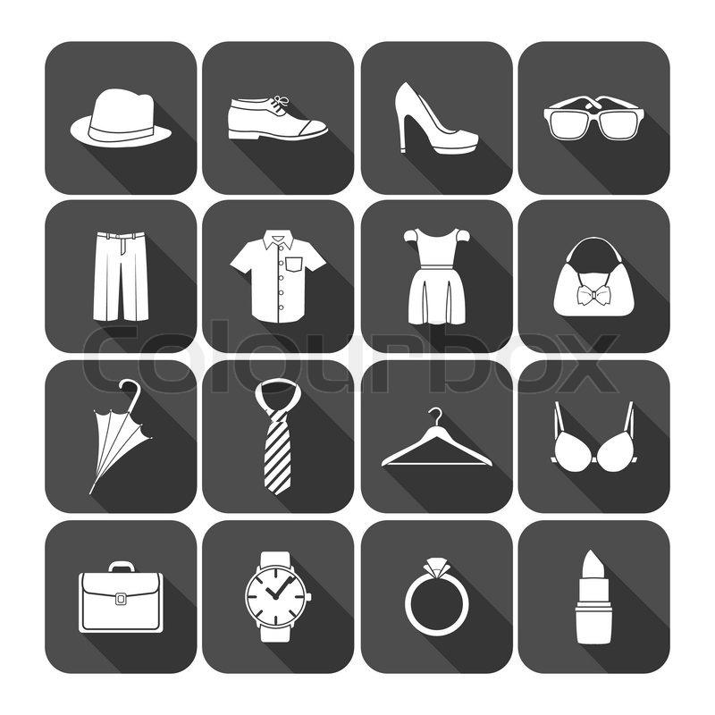 b6693992a2d81f Stock-Vektor von  Männer und Frauen Kleidung-Accessoires-Symbole