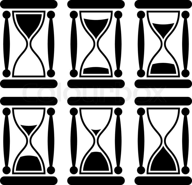 Sanduhr schwarz weiß  Schwarze und weiße Sanduhr-Symbol zur Veranschaulichung Vergehende ...
