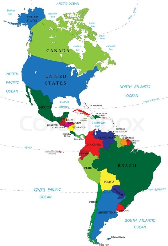 Countries of North and South America with borders flags and