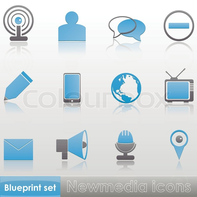 Simple blue grey new media wi fi member write phone globe tv simple blue grey new media wi fi member write phone globe tv stop sign talk microphone gps message loudspeaker icons with reflection isolated malvernweather Image collections