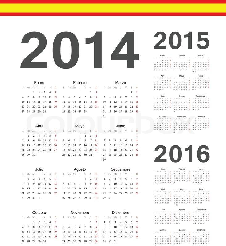 Set of simple spanish 2014, 2015, 2016     | Stock vector | Colourbox