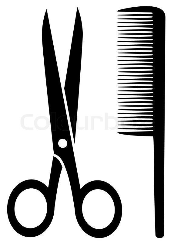 Isolated Comb And Scissors Black Silhouette On White