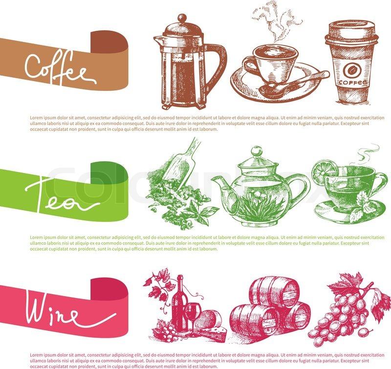 Vektor-Satz von Kaffee, Tee und Wein skizzieren Illustrationen. Menü ...