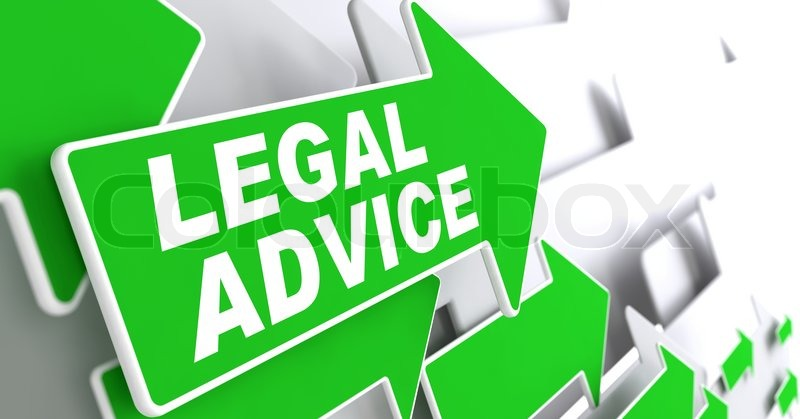Legal Advice on Direction Sign - Green Arrow on a Grey Background, stock photo