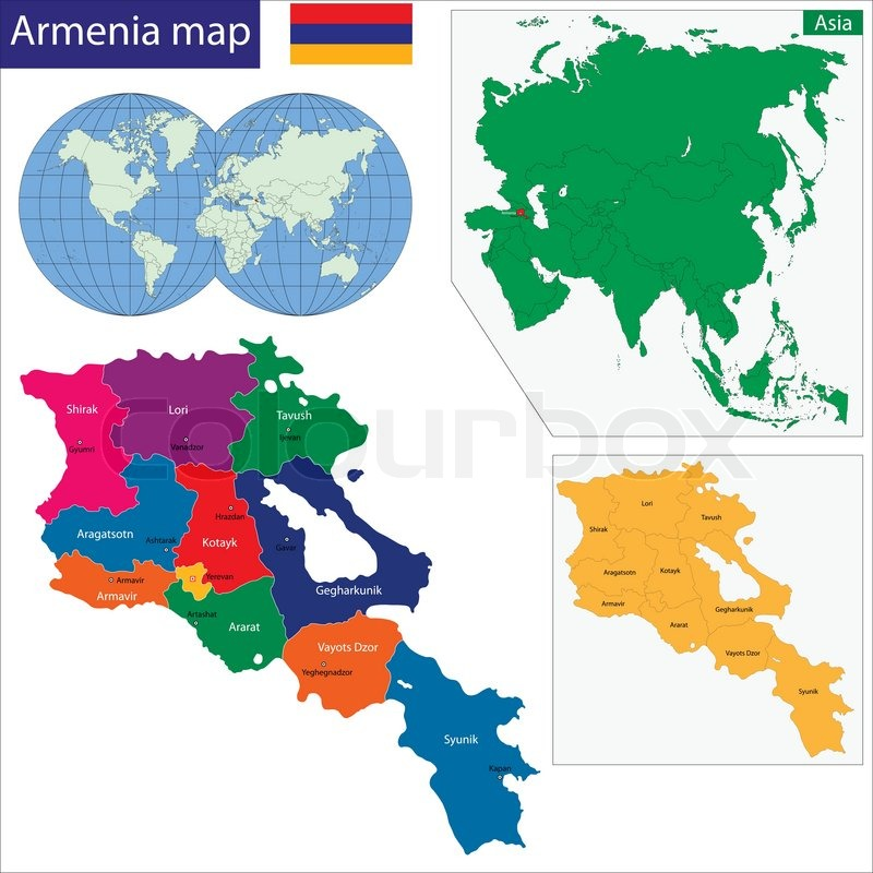 Armenien Karte.Armenien Karte Stock Vektor Colourbox