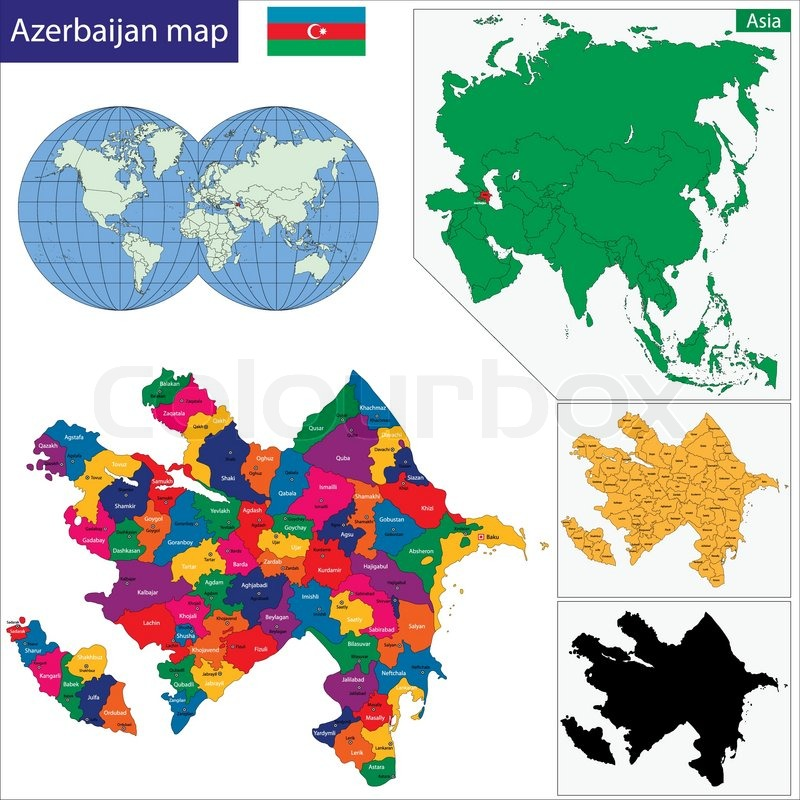 Aserbaidschan Karte Stock Vektor Colourbox