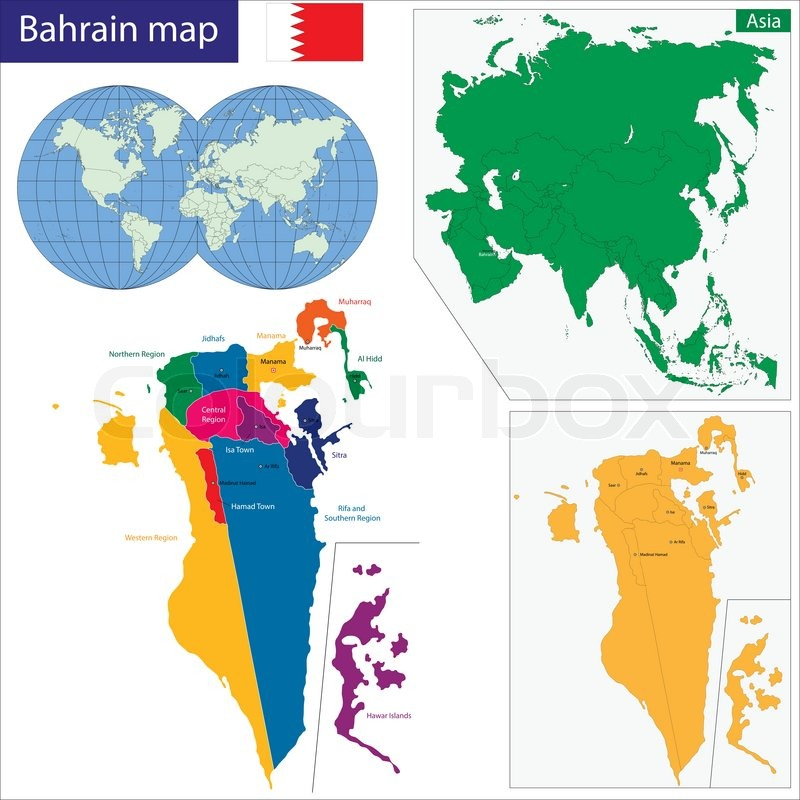Bahrain Map Vector Map of The Kingdom of Bahrain