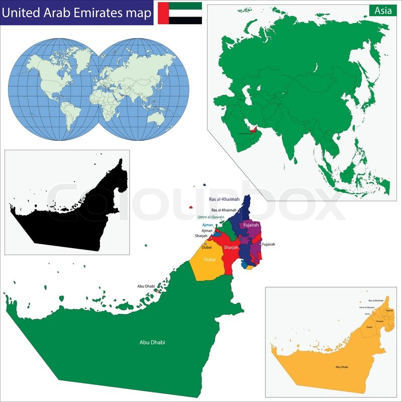 Map Of Asia United Arab Emirates.Map Of The United Arab Emirates Drawn Stock Vector Colourbox
