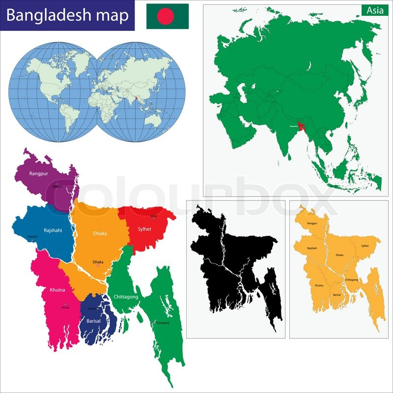 Map Of Peoples Republic Of Bangladesh With The Provinces Colored - Peoples republic map