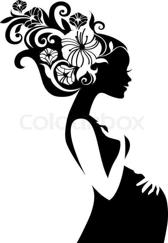 Pregnant Beautiful Woman Silhouette Stock Vector