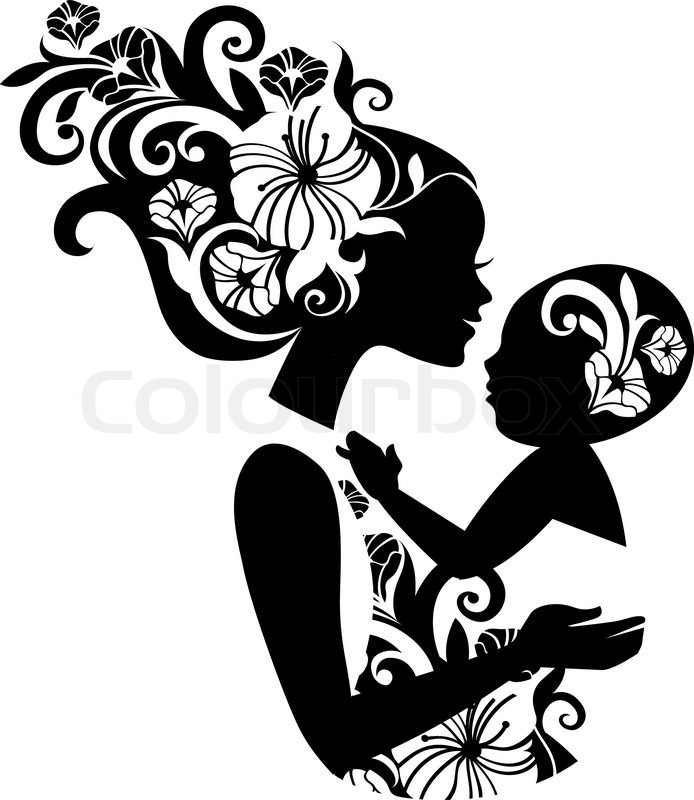 beautiful mother silhouette with baby in a sling floral
