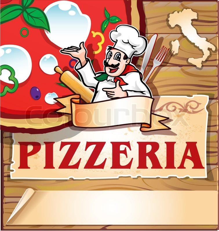 Pizzeria hintergrund mit italienischer koch vektorgrafik for Koch italienisch