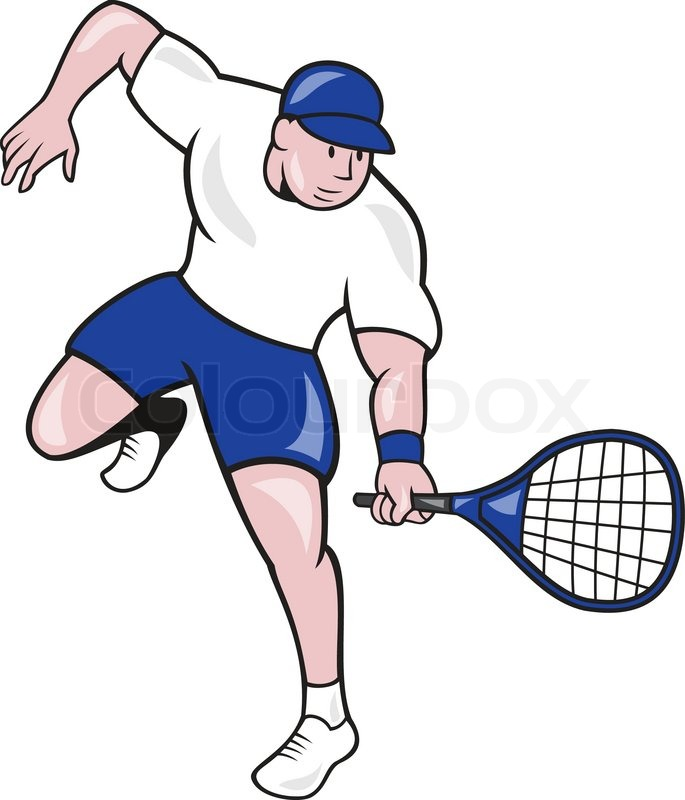 Illustration of a tennis player holding racquet viewed ...