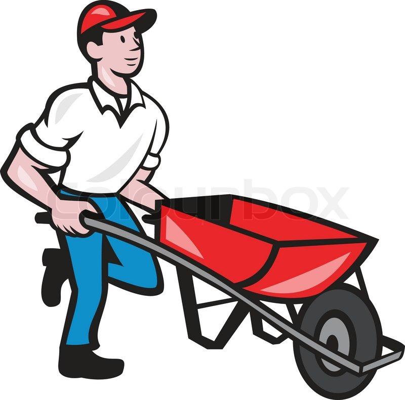 Illustration of male gardener walking pushing wheelbarrow ...