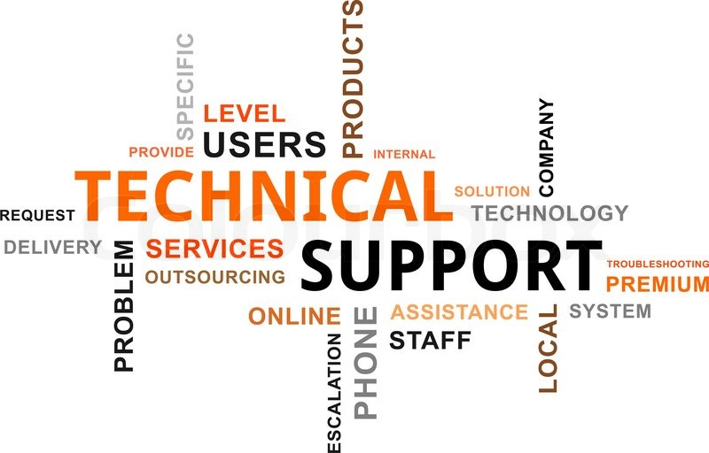 a word cloud of technical support related items stock vector