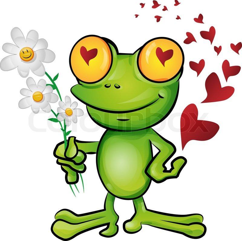 Frosch-Cartoon verliebt   Vektorgrafik   Colourbox